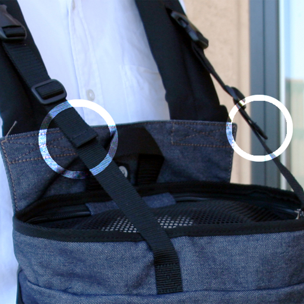 バッグを平衡に保って安定させてくれるサポートベルト。