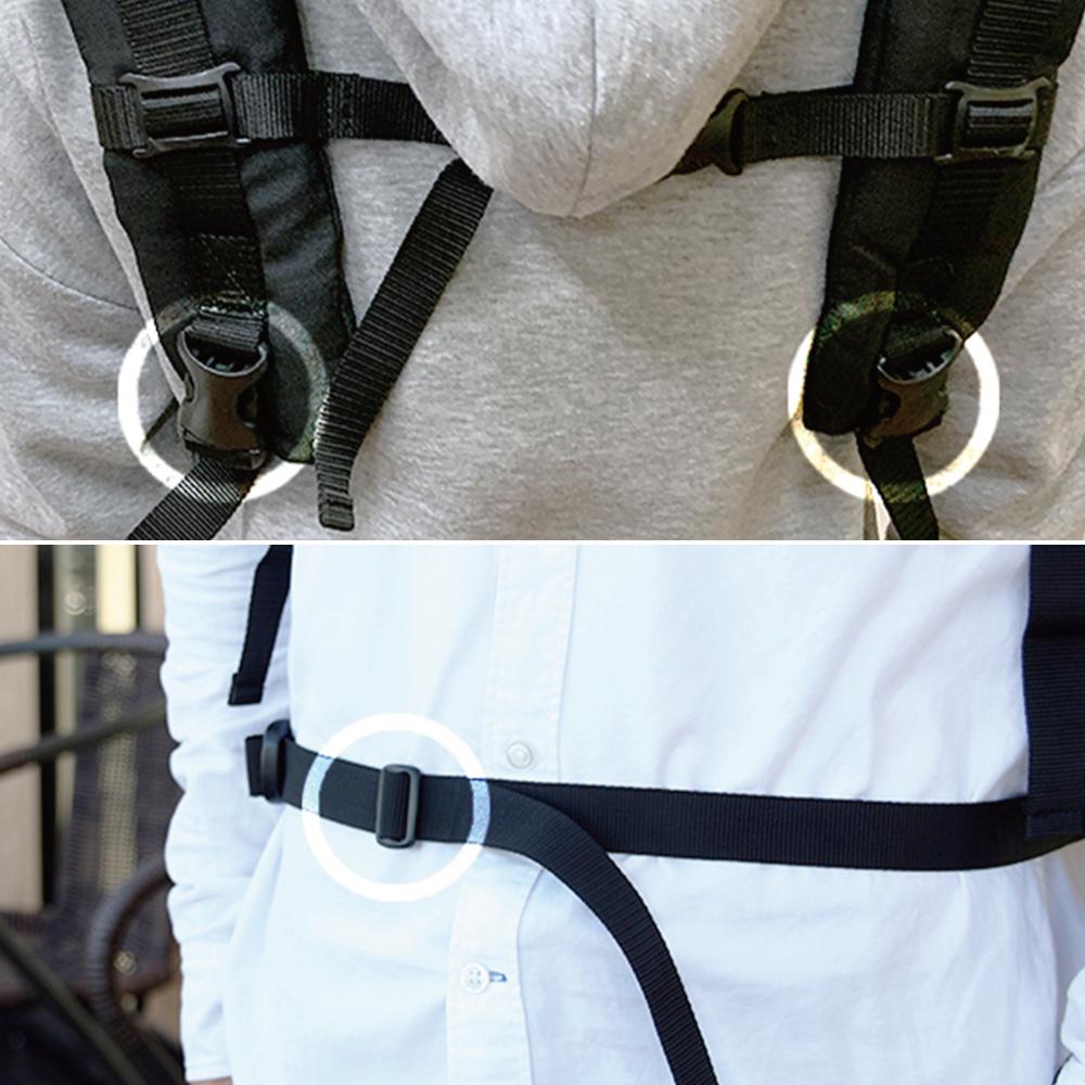 調整可能な肩ベルトとウエストベルト。